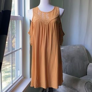 Yellow cold-shoulder dress